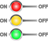 Three colored switches — Stock Vector