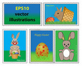 Collection of easter stamps — Stock Vector