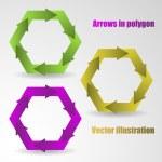 Color arrows in the polygon — Stock Vector