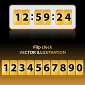 Gold flip clock — Stockvector