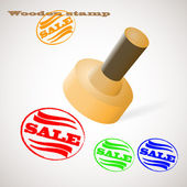 Wooden stamp SALE — Stock Vector