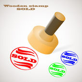 Wooden stamp SOLD — Stock Vector