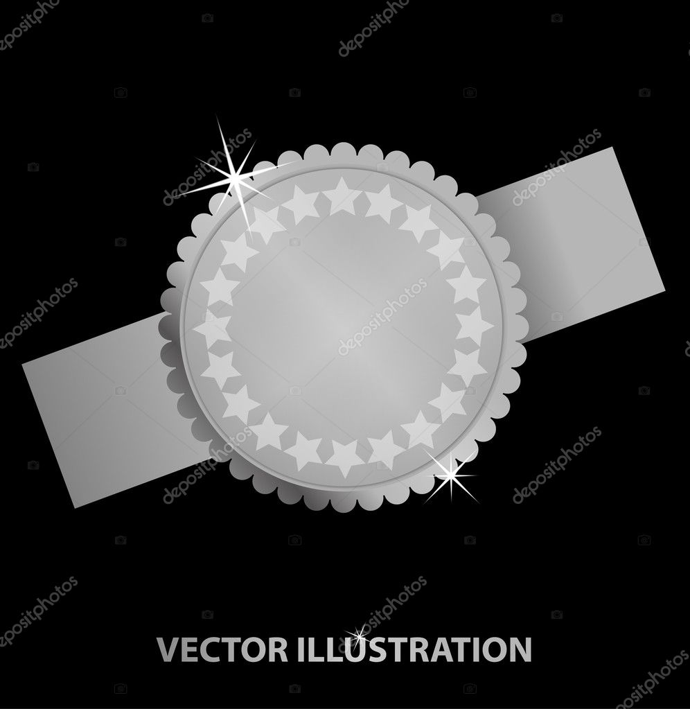 Vector illustration of platinum medal with stars. Background and description in separate layer — Stock Vector #9814661