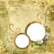 Foto Stock: Round wooden photo frameworks