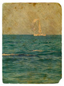 Sailing yacht in ocean. Old postcard — Stock Photo