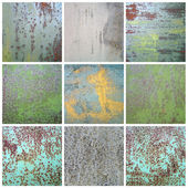 Collection chipped paint on rusty metal surface — Stock Photo