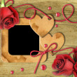 Vintage photo frames, red roses and heart — Stock Photo