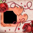 Vintage photo frame, red roses and heart — 图库照片