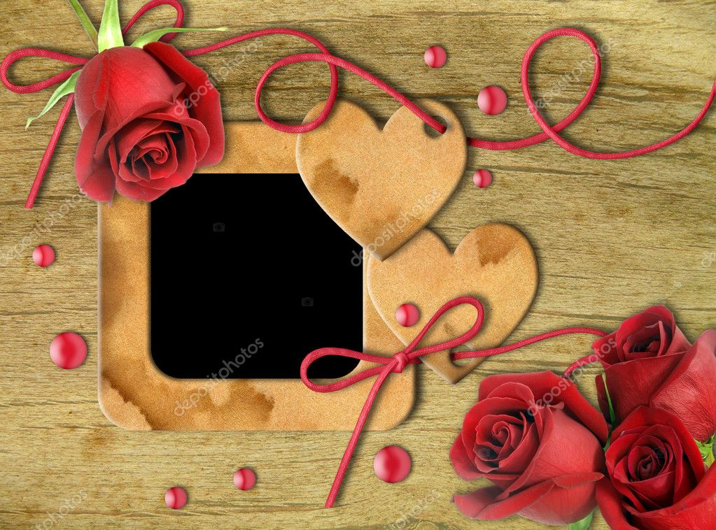 Vintage photo frames, red roses and heart on an old, cracked background  Stock Photo #8368676