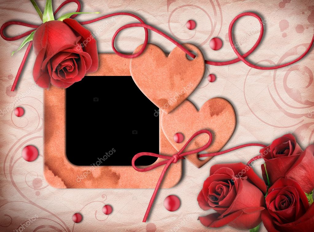 Vintage photo frame, red roses and heart on an old, cracked background.  Valentine's Day — Photo #8368680