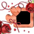 Stock Photo: Vintage photo frame, red roses and heart