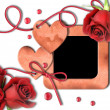 Стоковое фото: Vintage photo frame, red roses and heart