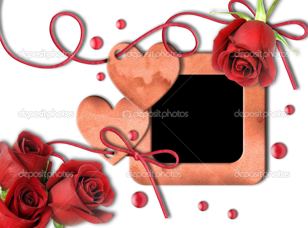 Vintage photo frame, red roses and heart on white background.  Valentine's Day — Stock Photo #8370279