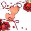 Vintage heart and red roses - Stockfoto
