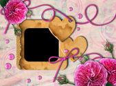 Vintage κορνίζα, ροζ τριαντάφυλλα και καρδιά — Φωτογραφία Αρχείου