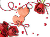 Vintage heart and red roses — Stock Photo