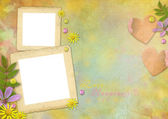 Photo frames on the abstract pastel-colored paper background — ストック写真