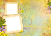 Photo frames on the abstract pastel-colored paper background — Photo