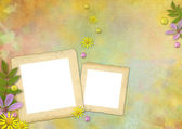 Photo frames on the abstract pastel-colored paper background — Stock Photo