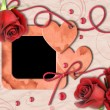 Vintage photo frame, red roses and heart — Stock fotografie