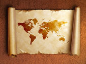 Ancient scroll map with curled edges — Stock Photo