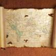 Stock Photo: Ancient scroll map with curled edges