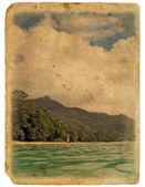 Shore of the ocean, beach. Old postcard. — Stock Photo