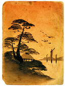Japanese painting. Old postcard. — Stock Photo
