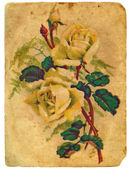 Painted a bouquet of roses. Old postcard. — Stock Photo