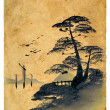 Stock Photo: Japanese painting. Old postcard.