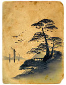 Japanese painting. Old postcard. — Stockfoto