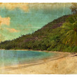 Indian Ocean landscape, Seychelles. Old postcard. — Stock Photo