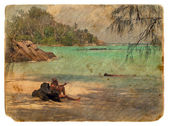 Recreation on the shores of the Indian Ocean. Old postcard. — Stock Photo