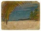 Tropical Landscape. Old postcard. — Stock Photo