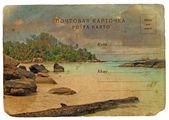 индийский океан пейзаж, сейшельские острова. старая открытка. — Стоковое фото