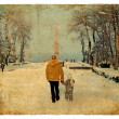 Walk in the park in winter. Old postcard. — Stock Photo #8967250