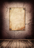 Wanted poster in old grunge interior — Stock Photo