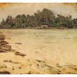 Tropical landscape, Seychelles. Old postcard - ストック写真
