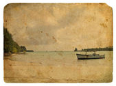Fishing boat near the shore. Old postcard — Stock Photo