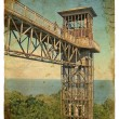 Metal construction - Lift. Old postcard. - Stock Photo