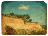 Landslide of soil, natural hazards. Old postcard. — Stock Photo