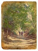 Un paseo por el parque. antigua postal. — Foto de Stock