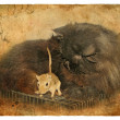 Black cat and gerbil. Old postcard. - Stock Photo