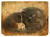Black cat and gerbil. Old postcard. — Stock Photo