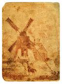 ферма с мельницей в африке. старая открытка. — Стоковое фото