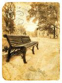 坐在一条车道城市长椅. — 图库照片