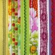 Detail of patchwork fabric handmade — Stock Photo