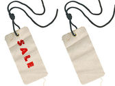 Fabric tags, empty and with Sale inscription — Stock Photo