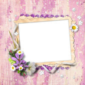 Retro photo framework with flowers — Stock Photo