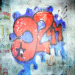 Graffiti on the old wall. Vintage background - Stock Photo